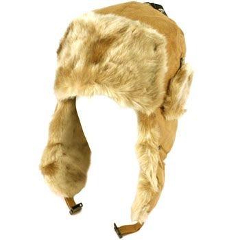Winter Fake Fur Faux Suede Thick Trooper Trapper Ski Snow Aviator Cap Hat Camel