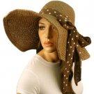 "Shapeable Wire Wide 6"" Brim Beach Summer Scarf Band Floppy Sun Hat Cap Brown"