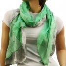 "Elegant Light Spring Tie Dye Beads Long Summer Sheer Scarf Shawl 72"" x 16"" Green"