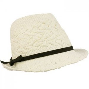 Ladies Teens Beach Summer Light Weight Ribbon Bow Vent Fedora Sun Cap Hat White