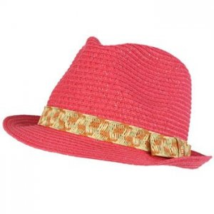 Girls Kids Shimmer Ribbon Bow Ages 4-9 Child Summer Sun Fedora Trilby Hat Pink