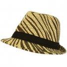 Summer Light Weight Zebra Animal Print Sun Fedora Trilby Stingy Hat Natural Brwn