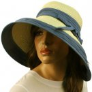"UPF 50+ Shapeable Ribbon Bow Beach Summer Wide 5"" Brim Floppy Sun Hat Cap Blue"