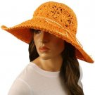 "Light Crushable Beach Summer Vented Wide 4-1/2"" Brim Floppy Sun Hat Cap Orange"