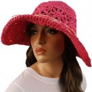 "Light Crushable Beach Summer Vented Wide 4-1/2"" Brim Floppy Sun Hat Cap Fuchsia"
