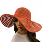 "Light Ribbon Bow Beach Summer Vented Mesh Wide 5"" Brim Floppy Sun Hat Cap Red"