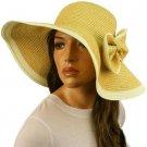 50+ UPF Ribbon Bow Beach Summer Braid Wide Brim Floppy Sun Hat Cap Natural 57cm