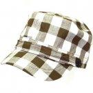 NEW COTTON BUFFALO PLAID CADET MILITARY CAP HAT BROWN