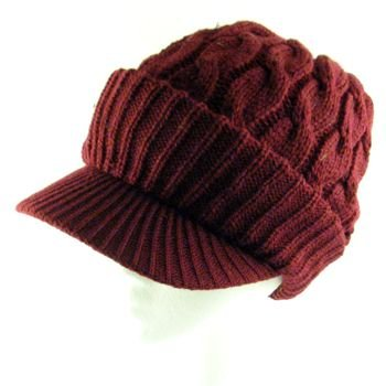 NEW CHUNKY CABLE KNIT SKULL NEWSBOY CABBY HAT CAP WINE