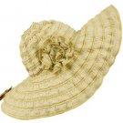 UPF 50+ Beach Summer Ruffle Flower Floppy Big Wire Brim Shapeable Sun Hat Beige