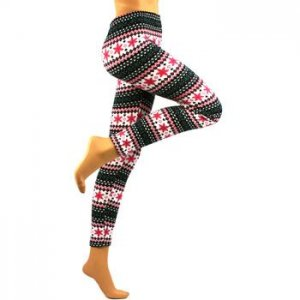 Winter Snowflake Ski Warm Leggings Stretch Footless Multicolor Teal Berry Small
