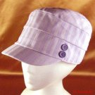 COTTON STRIPED 3 PANEL CABBY  CAP HAT JUNIOR LAVENDER