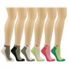 Ladies Casual Summer Spring USA Flag 6 Pairs 2 Tone  Ankle Low Socks Cotton Set