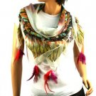 """Light Spring Real Feather Tassels Summer Square Scarf Shawl 40"""" x 40"""" Turquoise"""