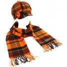 Winter Plaid Ribbon Bow Newsboy Cabbie Hat Softer Than Cashmere Scarf Orange
