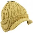 Winter 2ply Cable Knit Jeep Beanie Viisor Skull Newsboy Cabbie Ski Hat Cap Khaki