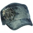 Denim Ruffle Flower Cotton Acid Wash Military GI Castro Cadet Jeans Cap Hat Blue