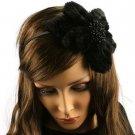 Big Fuzzy Flower Bow Sequins Satin Headband Head Piece Fascinator Cocktail Black