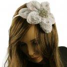 Big Fuzzy Flower Bow Sequins Satin Headband HeadPiece Fascinator Cocktail Silver