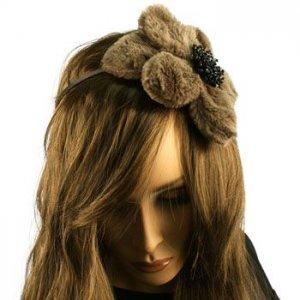 Big Fuzzy Flower Bow Sequins Satin Headband HeadPiece Fascinator Cocktail Brown