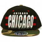 Cotton Chicago Camouflage Snapback Adjustable Baseball Ball Cap Hat Black Camo