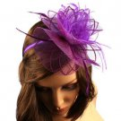Feathers Mini Hat Cap Fascinator Removable Headband Head Piece Cocktail Purple