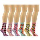 Ladies Cotton 6 Pairs Colorful Checkerd Crew Ladies Mid Calf Socks Cotton Set