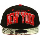 New York Faux Snake Skin Snapback Adjustable Baseball Ball Cap Hat Black Red