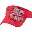 Austrian Crystal Fleur De Lis Frayed Cool Adjustable Visor Cap Hat 57cm+ Pink