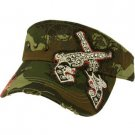 Austrian Crystal Dual Gun Stud Frayed Cool Adjustable Visor Cap Hat 57cm+ Camo