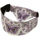 Ladies Choptop Butterfly Bandana Headwrap Headscarf  Adjustable White Purple