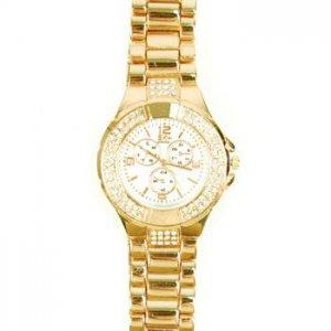 Womens Dressy Metal Crystal Clasp Closure Bracelet Wrist Watch Watches Wht Gold