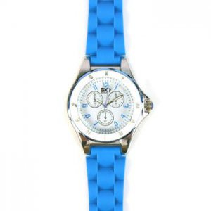 Ladies Casual 2 Tone Metal Silcone Strap Analog Wrist Watch Watches Blue