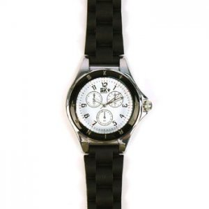 Ladies Casual 2 Tone Metal Silcone Strap Analog Wrist Watch Watches Black
