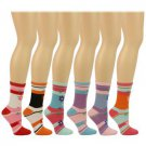 Ladies Casual Summer Spring Flowers Stripe 6 Pairs Calf Crew Socks Cotton Set
