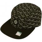 Cotton 5 Panel Boomarang Shape Snapback Adjustable Cadet Biker Cap Hat Black
