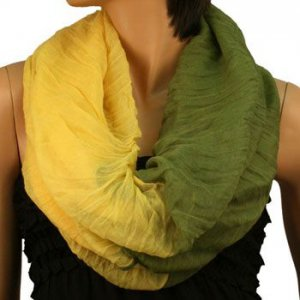 2ply 2 Tone Color Loop Tube Sheer Summer Spring Scarf Neckwrap Olive Yellow