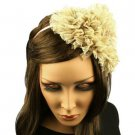 Fancy Ruffle Lace Sequins Satin Headband Head Piece Fascinator Cocktail Beige