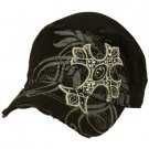 Austrian Crystal Cross Frayed Cool Elastic Black GI Cadet Cap Hat 57cm+ Black