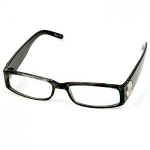 2 Tone Animal Print Metal Fleur De Lis Shield Reading Eye Glasses Green + 1.50