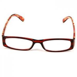 Fun Solid Print Rectangular Clear Lens Reading Glasses Eyeglasses Red + 1.00