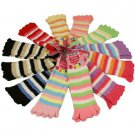 Fuzzy Ladies Warm Toe Socks 12 Pairs Colorful Striped Crew Mid Calf Pack Set