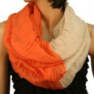 2ply 2 Tone Color Loop Tube Sheer Light Summer Scarf Neckwrap Orange Nude