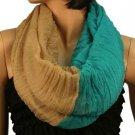 2ply 2 Tone Color Loop Tube Sheer Summer Spring Scarf Neckwrap Beige Turquoise