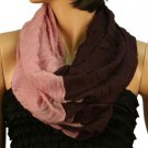 2ply 2 Tone Color Loop Tube Sheer Summer Spring Scarf Neckwrap Purple Mauve