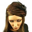 Fancy Lace Feathers Jewel Satin Headband Head Piece Fascinator Cocktail Brown