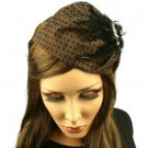 Fancy Lace Feathers Jewel Satin Headband Head Piece Fascinator Cocktail Dk Brown