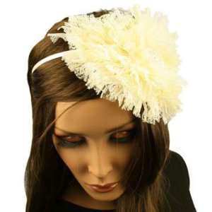 Fancy Ruffle Lace Sequins Satin Headband Head Piece Fascinator Cocktail Ivory