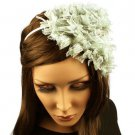Fancy Ruffle Lace Sequins Satin Headband Head Piece Fascinator Cocktail Gray