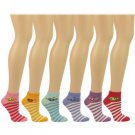 Casual Summer Spring Smiley Face Striped 6 Pairs Ankle Low Socks Cotton Set